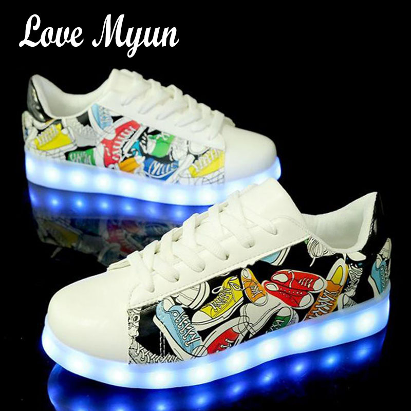 New Women Graffiti LED Casual Shoes Girl Luminous Sneakers with USB Charging colorful Breathable Female Lighted Shoes  II-36 children usb charging kids led shoes adult man women led luminous sneakers casual boys girls breathable sneakers glowing shoes