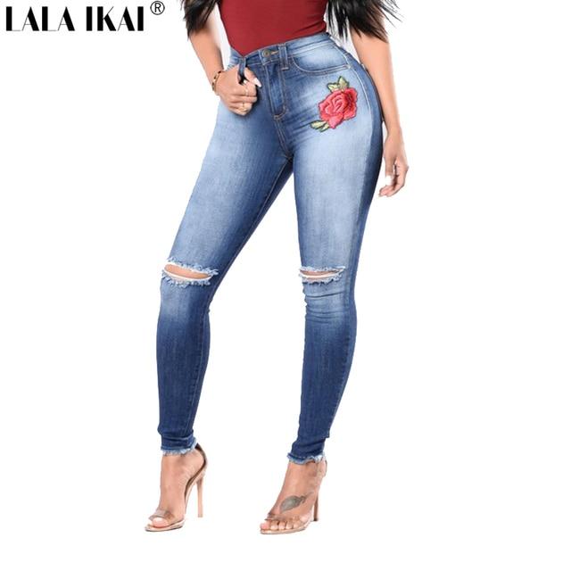 c7e5dfe3ac0 LALA IKAI Plus Size 2XL 3XL Women Jeans Chic Boyfriend Embroidery Denim  Pants Skinny Destroyed High Waist Jeans Girls KWA0246-45