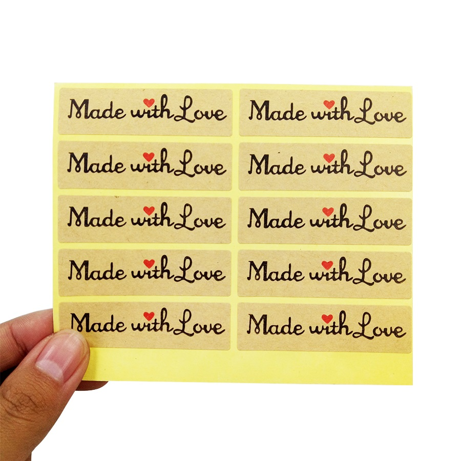 100 Pcs/lot Long Stickers Made With Love Red Heart Gift Seal Stickers For Homemade Bakery Gift Packaging Scrapbooking