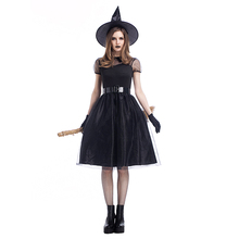 Halloween new black yarn witch costume suit temperament night ghost game holiday adult woman