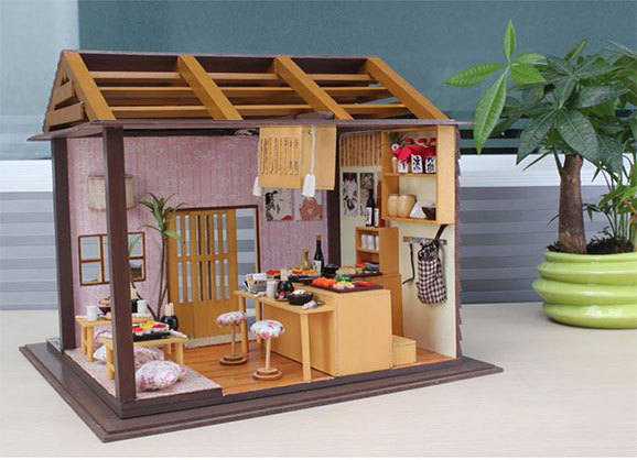 diy japanese furniture. japanese restaurant sushi miniatura sunshine diy pink doll wood house furniture handmade diy060 3d miniature dollhouse diy u
