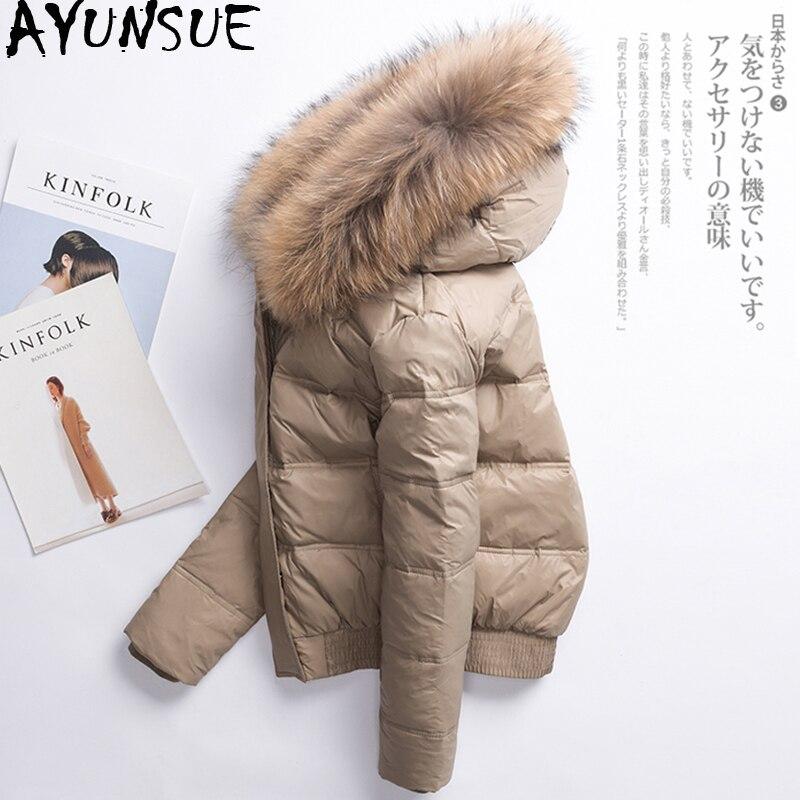 AYUNSUE Women's Winter Down Jacket Woman Hooded Short Korean Puffer Coat Women Real Fur Collar Down Jackets Abrigo Mujer KJ725