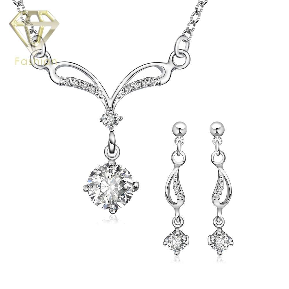 Mode Joyas De Plata Argent Plaqué Bijoux De Mariage Africains Nigérians  Blanc Perles Bijoux Ensemble Collier En Cristal Aretes Ensemble 749f39f663c9