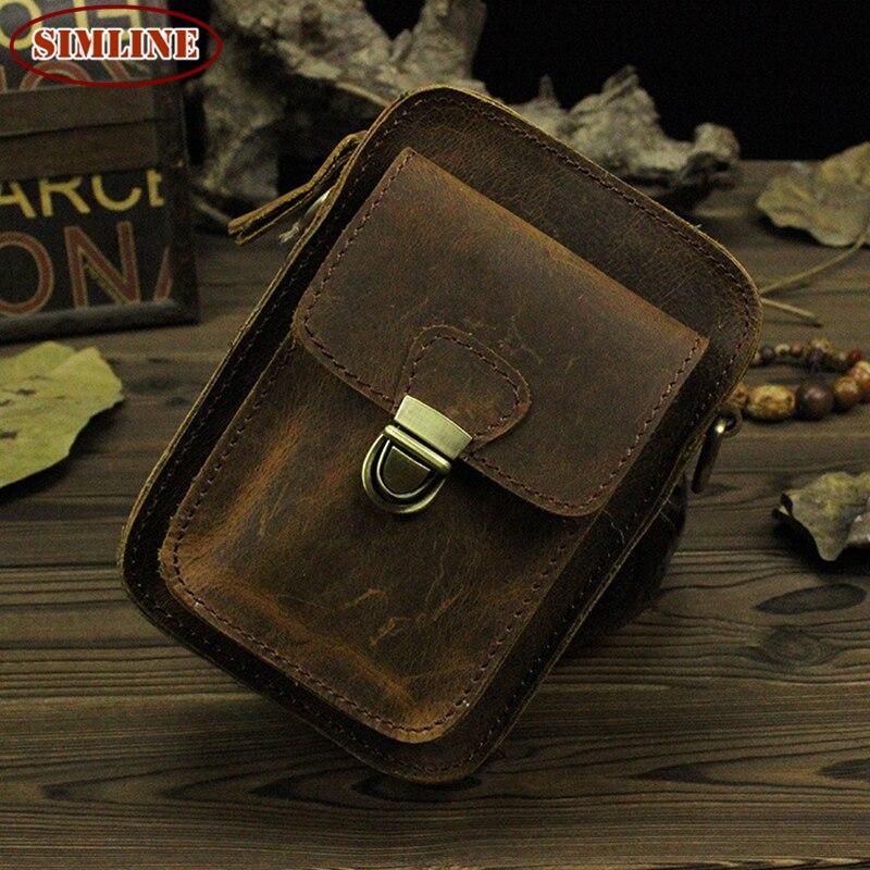 Vintage 100% Genuine Crazy Horse Leather Cowhide Mens Outdoor Belt Waist Pack Packs Small Shoulder Cross Body Bag Bags Men - SIMLINE LeaCool store