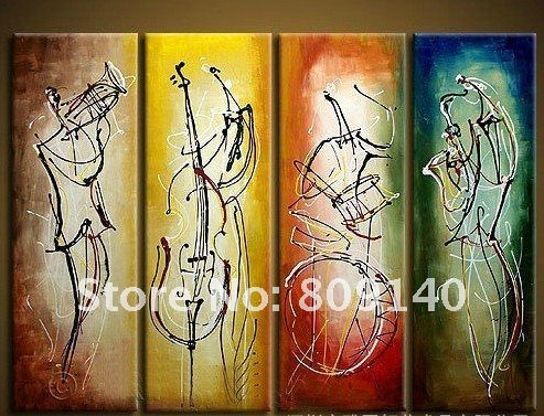 Oil painting music instrument huge modern abstract art for Hotel wall decor