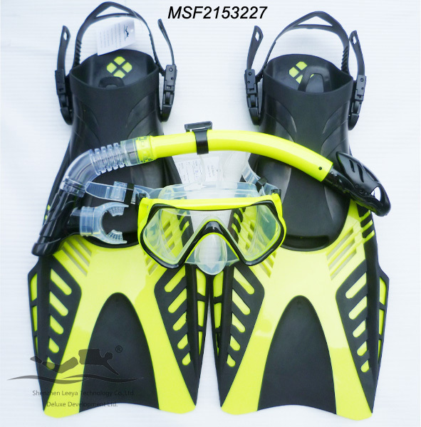 snoekeling equipment full face Diving Mask+full dry Snorkel +adjustable strap Flippers MSF2153227 wave msf 1390s65f69