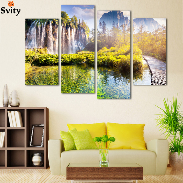 4panel Free shipping Landscape Waterfall printed on canvas home ...