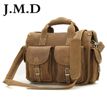 J.M.D Hot Selling Genuine Vintage Crazy Horse Leather Laptop Briefcase Bag Hand bags High Quality 7106