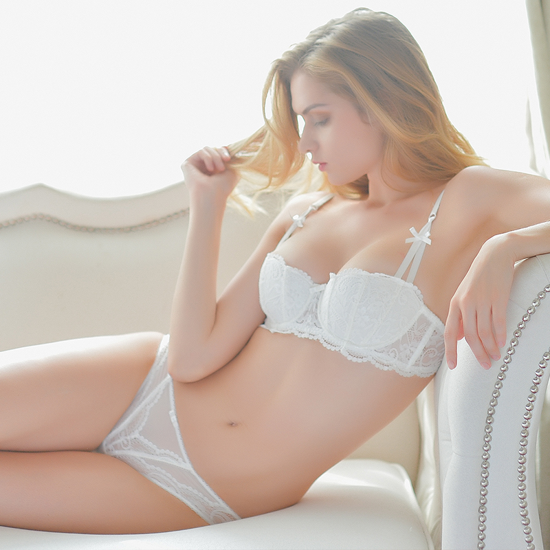 Shaonvmeiwu Autumn And Winter 1/2 Cup Lace Thin Section Sexy Lady Underwear Bra Set Half Cup Bra Red  Comfortable Breathable