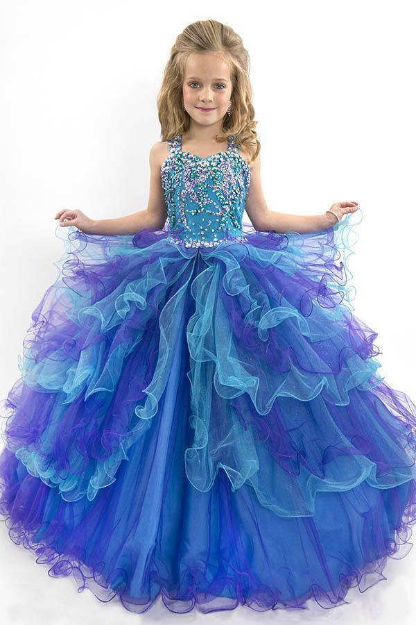 130d1990d111 2015 New FEATHER FLOWER GIRL DRESS FORMAL PAGEANT ROSE PETALS GOWN ...