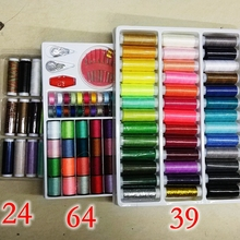 24/39/64roll/lot,Mixed Color Polyester/cotton sewing Thread Box Set,DIY Sewing Kit For Hand Machine Needles Set tools