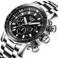 Мужские часы LIGE модные деловые часы Топ люксовый бренд Мужские многофункциональные Кварцевые водонепроницаемые часы Relogio Masculino