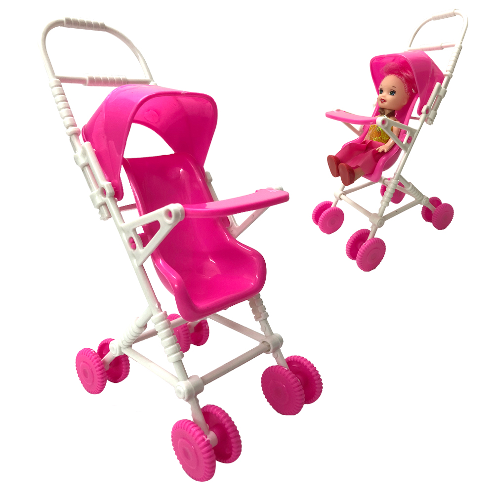 NK One Set Doll Accessories  Pink Baby Stroller Infant Carriage Stroller Trolley Nursery Toys Mini Furniture For Barbie Doll