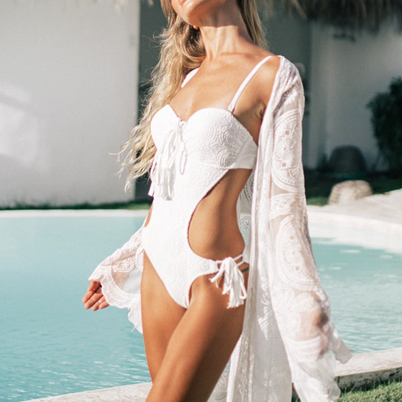 Sexy 2020 Ladies White Lace Backless Push Up Swimwear Women One Piece Swimsuit Female String Cut Out Monokini Trikini