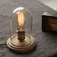 Retro Simple Table Lamp Loft Edison Nostalgia Adjustable Lampara De Mesa Bedroom Bedside Cafe Bar Solid Wood Glass Led Desk Lamp(China)