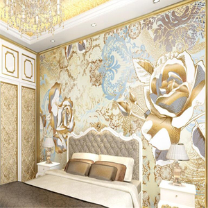 Hot Sale Free Shiping Beibehang Papel De Parede 3d Mural Custom Luxury European-style Pattern Golden Rose Damascus Wallpaper 3D TV Background Wall