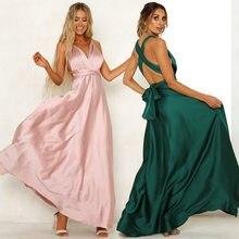 Женское атласное платье-макси с открытой спиной, розовое или зеленое вечерние нное облегающее платье на бретелях-спагетти, лето 2019