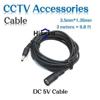 Nuevo adaptador/convertidor/cable de extensión de Cable de extensión macho Hiseeu DC 5V para cámaras de seguridad CCTV conector de barril CC