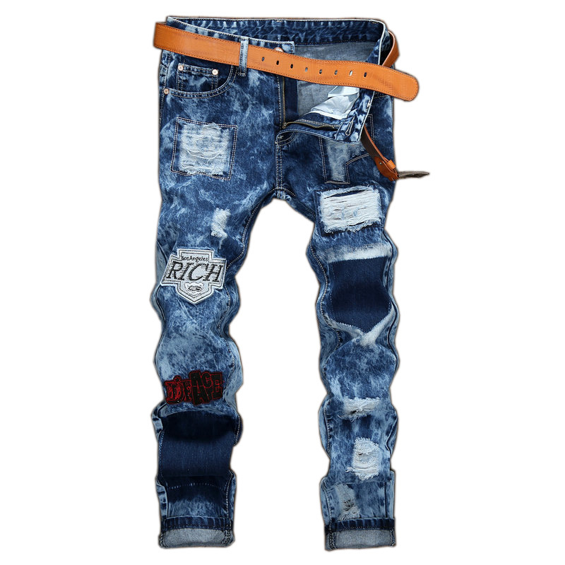 High Street Mens Distressed Denim Slim Fit Trousers Letter Embroidery Patchwork Fashion Ripped Jeans Patches Badge Snow Wash