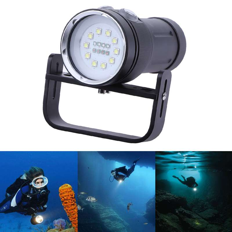 New 10White+4Red+4Blue LED Diving Flashlight Photography Fill Light Underwater Waterproof Torch Dive Underwater Lamp