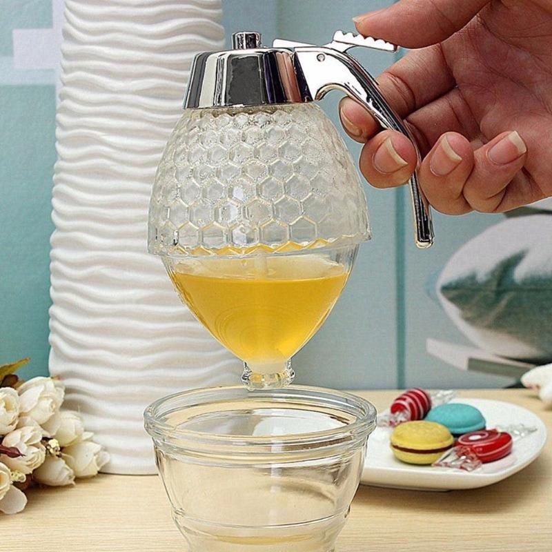 Bee Hive Honey Dispenser Syrup Juice Jar Paste Separator Acrylic Honey Bottle DIY Kitchen Tool ABS+ Acrylic 145*78*78mm