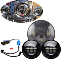 7 LED Headlight With 4.5 inch Passing Spot Fog Lights For Harley Heritage Softail Classic Touring Road King