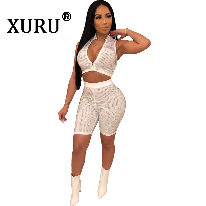 XURU Summer New Women 39 s Sexy Hot Drilling Jumpsuit Two piece Slim Zipper Sleeveless Diamonds Jumpsuit Nightclub Siamese Shorts in Rompers from Women 39 s Clothing