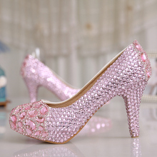 3Inches Pink Crystal Pumps Rhinestone Party High Heels Fashion Spring Shining Pricess Prom Shoes Luxury Bridal Wedding Shoes