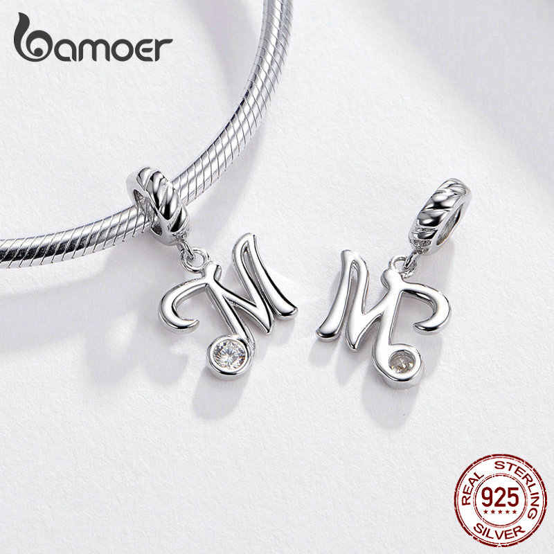 BAMOER 26 ตัวอักษรจี้เงินแท้ 925 ที่เขียนด้วยลายมือภาษาจี้ Charm สำหรับสร้อยข้อมือและสร้อยคอ SCC1183