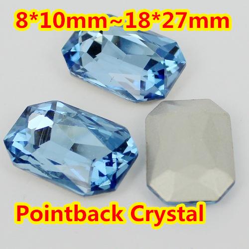 LT. Sapphire Forma de Retângulo de Cristal Extravagante Stone Point Voltar Vidro Pedra Para A Jóia DIY Accessory.10 * 14mm 13*18mm 18*25mm 20*30mm