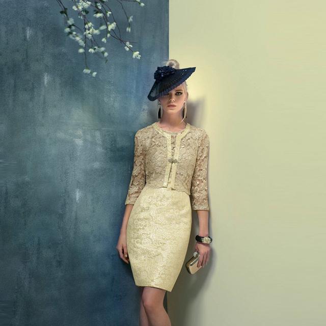 2017 Curto Mãe dos Vestidos de Noiva com Jaqueta de Cetim rendas Mangas Três Quartos Ternos Do Noivo Vestido de Mãe para o Casamento CR03