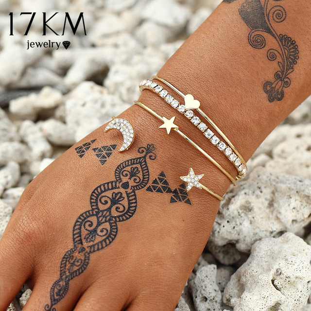 17KM Design Geometric Crystal Star Moon Bracelets Heart For Women Fashion Alloy
