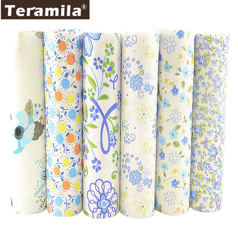 TERAMILA New Telas Cotton Quilting Twill Blue Floral Fabric Sewing Material DIY Tissu Coton 6 PCS/40cmx50cm Patchwork Textile craft