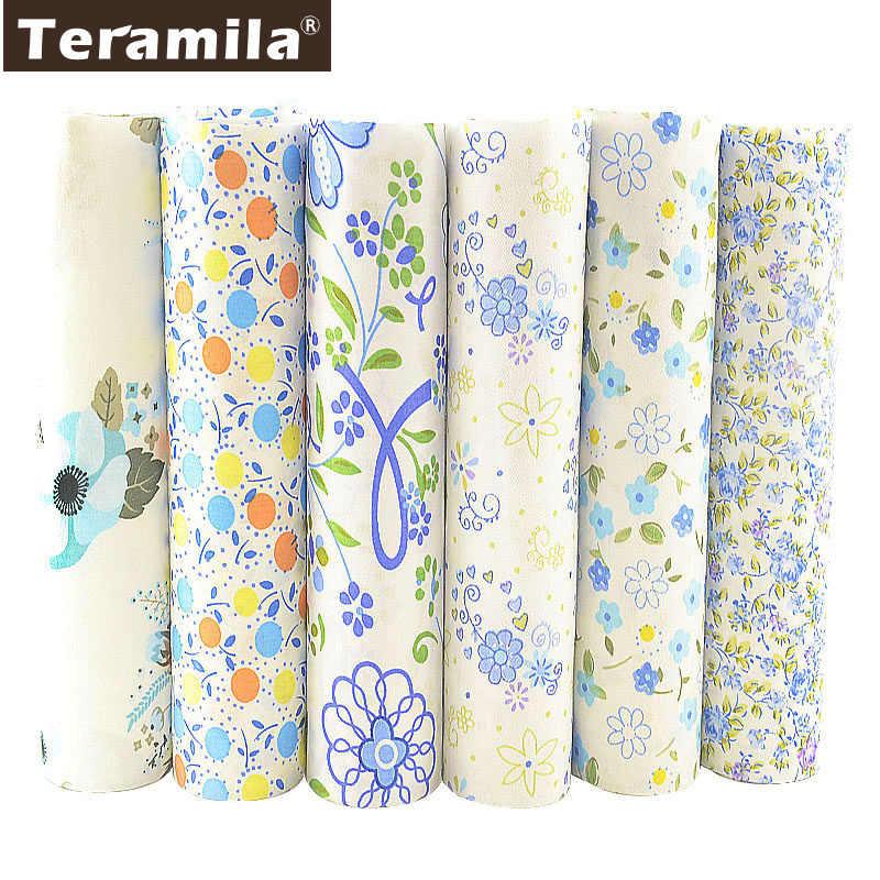 TERAMILA جديد Telas نسيج القطن اللحف الأزرق قماش الأزهار مواد الخياطة DIY Tissu Coton 6 قطعة/40 سنتيمتر x 50 سنتيمتر خليط النسيج