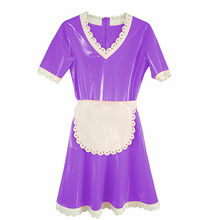 Latex Dress 100% Rubber Purple with White Elegant Female Skirts Gummi Size S-XXL