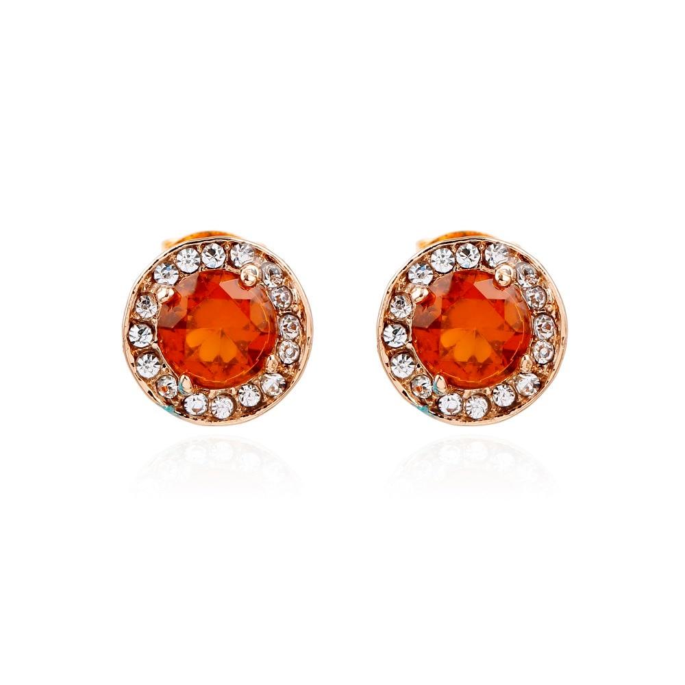 43499b1d818c Naranja cristal redondo Pendientes de broche geométrico mujeres Pendientes  moda joyería bijoux Femme oorbellen