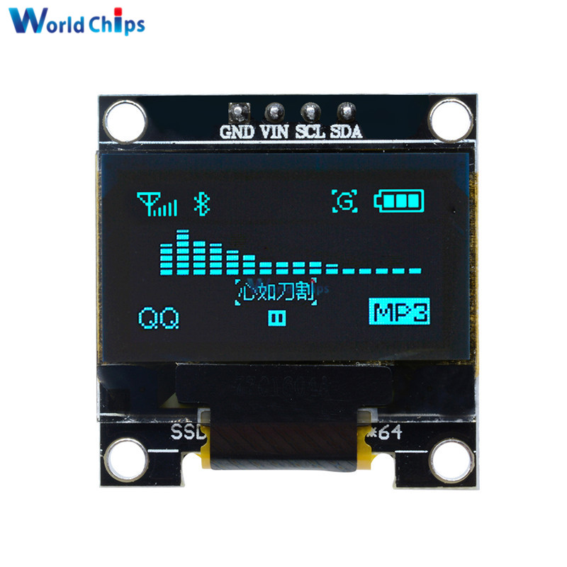 """Rational Blue Color 0.96 Inch 12864 128*64 Oled Lcd Display Module Controller Driver Board Ssd1306 For Arduino 0.96"""" Iic I2c Communicate"""