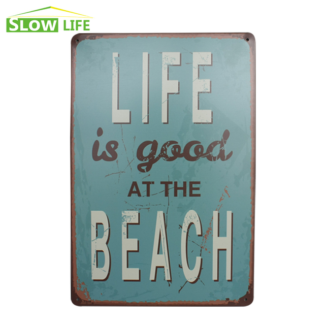 Life Is Good At The Beach Metal Tin Sign Wall Decor Vintage Home
