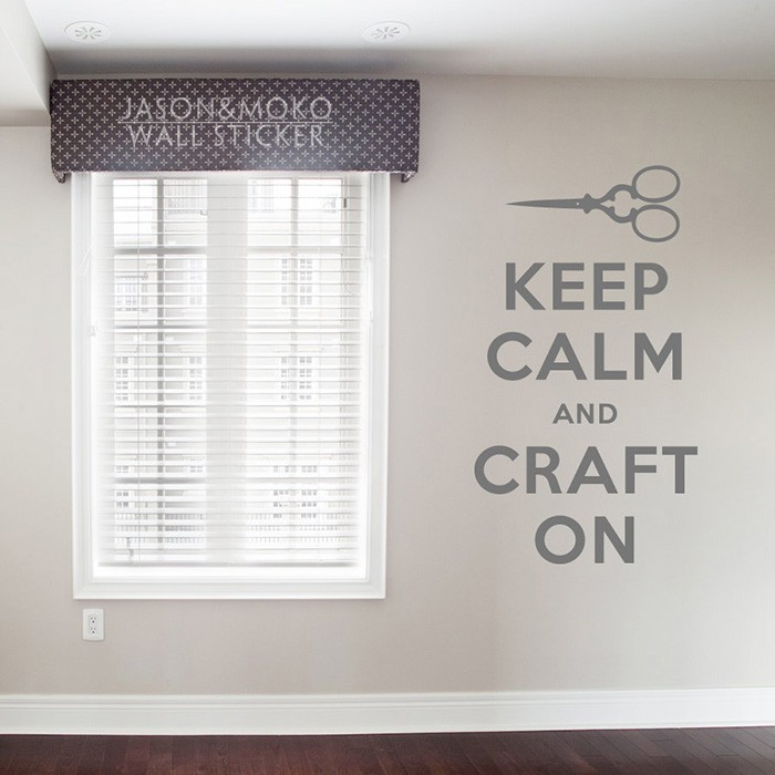 Keep Calm and Craft On Decal - Vinyl Wall Art Decal Sticker Wall Stickers Home Decoration Wallpaper 60cmX105cm Free Shipping