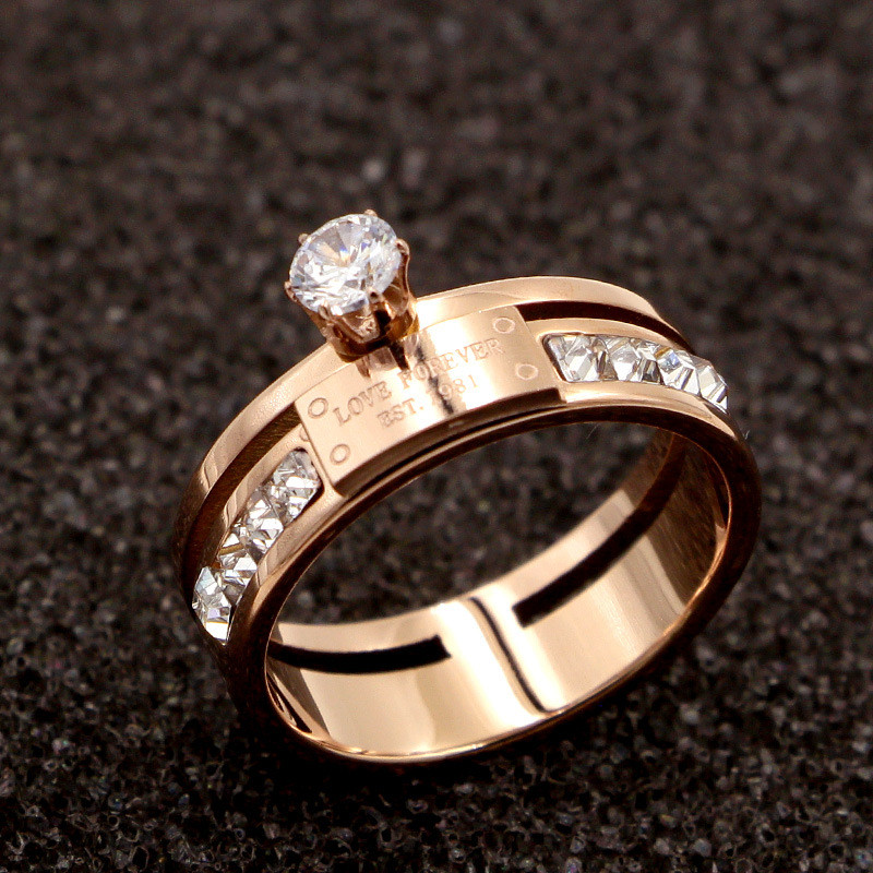 Crystals-Rings Finger-Ring Luxury Brand Jewelry Letter Cubic-Zirconia Love-Forever Wedding