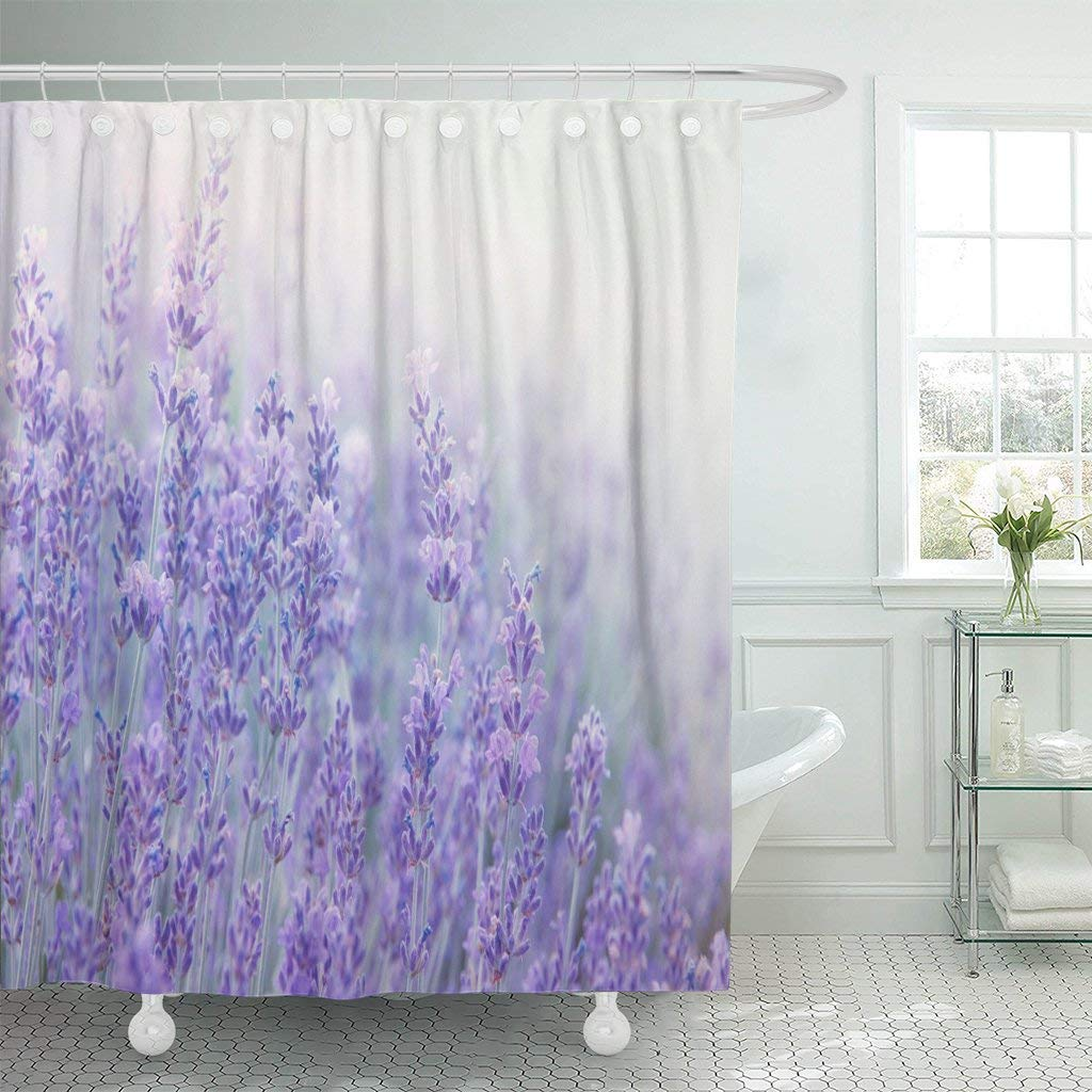 Lavender Shower Curtains Shower Curtain With Hooks Lavender Flowers At Sunlight In Focus Pastel Colors And Blur Violet Lavande Field Decorative Bathroom