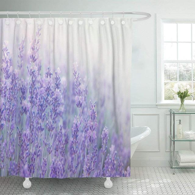Shower Curtain With Hooks Lavender Flowers At Sunlight In Focus Pastel Colors And Blur Violet Lavande Field Decorative Bathroom