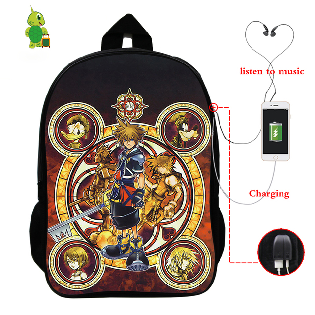 Kingdom Hearts Backpack Anime School Bags for Teenagers Boys Girls Men Women Backpack USB Charge Laptop Backpack Travel Bags
