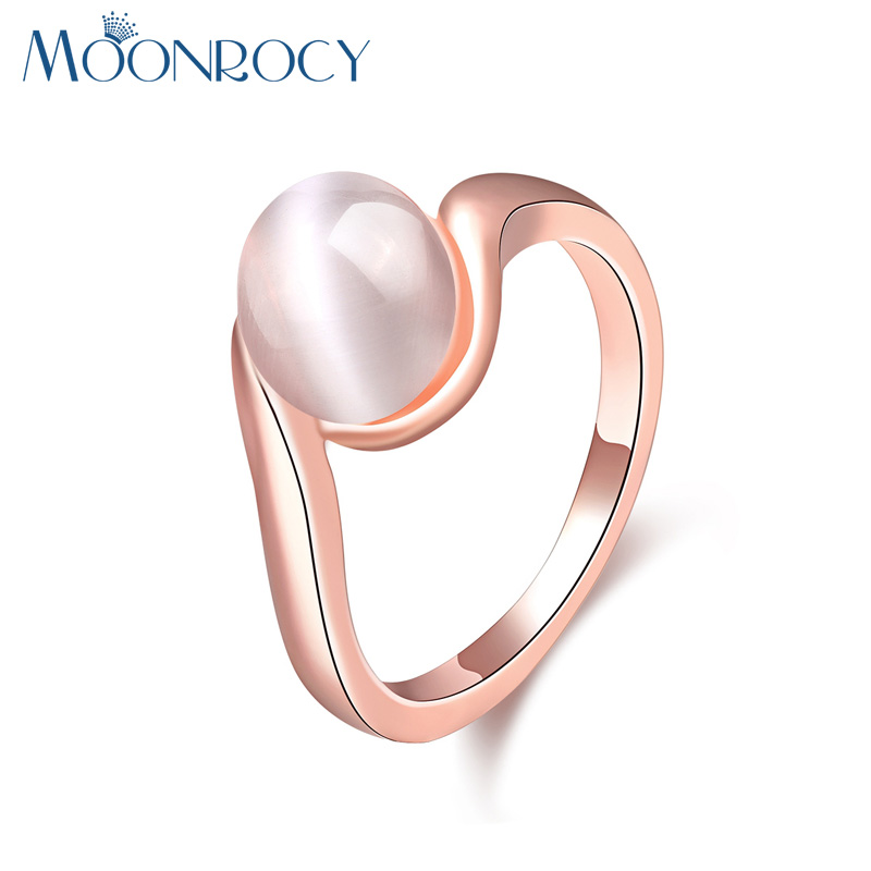 MOONROCY Rose Gold Color Free Shipping Austrian Crystal Cymophane Opal Rings Fashion Jewelry Wholesale New fow Women Gift