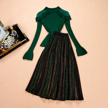 2019 New Arrival Russian Stylish Womens Knitting Skirt Suits Knit Tops A-line Green Ruffles Casual Two Pieces Sets