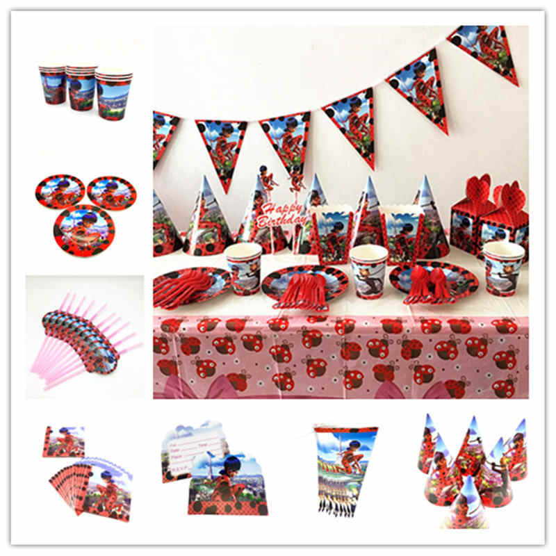 New Wonderful Ladybug Theme Kid Girl Birthday Paper Cup+Plate+Napkin+Straw+Blowout Wedding Family Party Banner Candy Box Supply