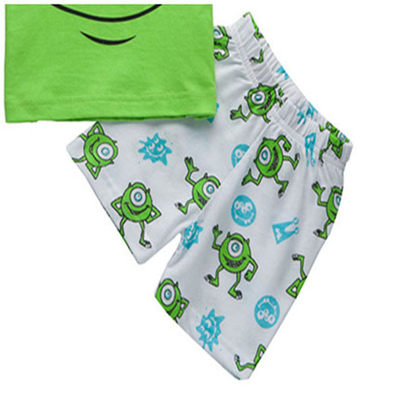 Дети Мальчики мультфильм Футболка с коротким рукавом + шорты брюки наряды Лето 2018 улыбка большие глаза 2 3 4 5 6 7 8 лет