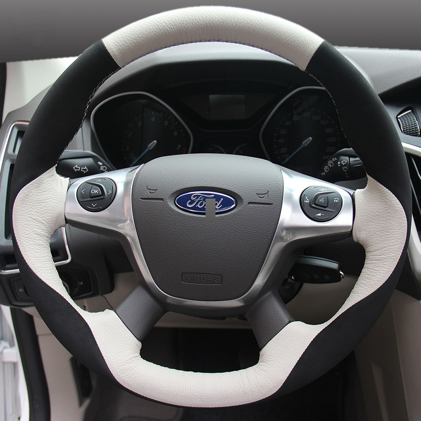 Car Steering Wheel Cover For Ford focus 3 2012-2014 EcoSport 2013-2016 mondeo KUGA car accessories styling 3d creative chrome steering wheel sticker for ford fiesta ecosport kuga escape focus mondeo new drop shipping
