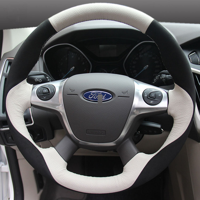 Car Steering Wheel Cover For Ford focus 3 2012-2014 EcoSport 2013-2016 mondeo KUGA car accessories styling