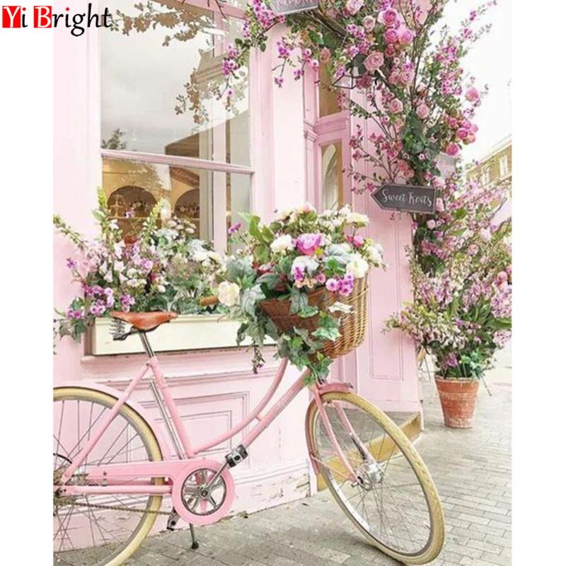 5D DIY Diamond Embroidered Pink Bicycle Full Square/Round Diamond Mosaic Flower Decoration Home Diamond Painting Landscape XY1